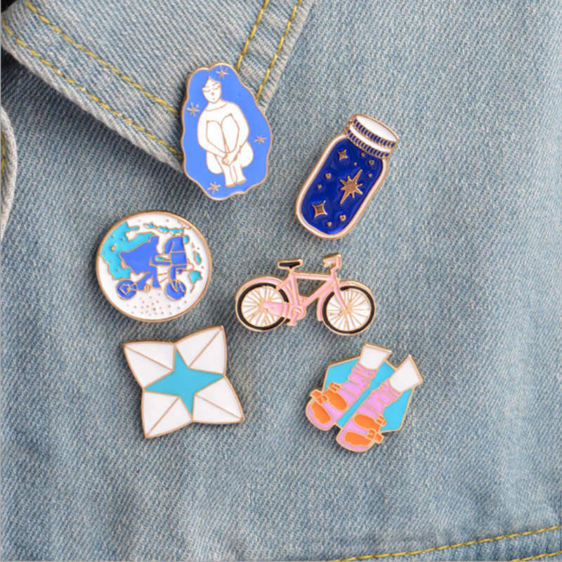 1 pcs cartoon bicycle wish bottle metal brooch button pins denim jacket pin jewelry decoration badge for clothes lapel pins