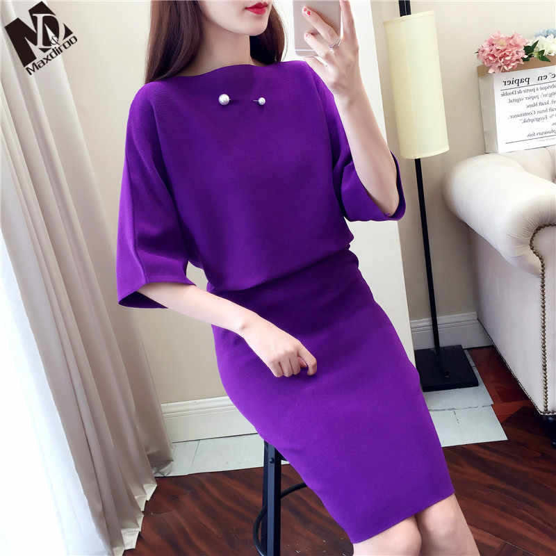 MAXDIROO 2 Piece Set Women Autumn Beading Sweat Suit Loose Pullover Sweater And Pencil Skirt Set 2Pcs Elegant Office Lady Set