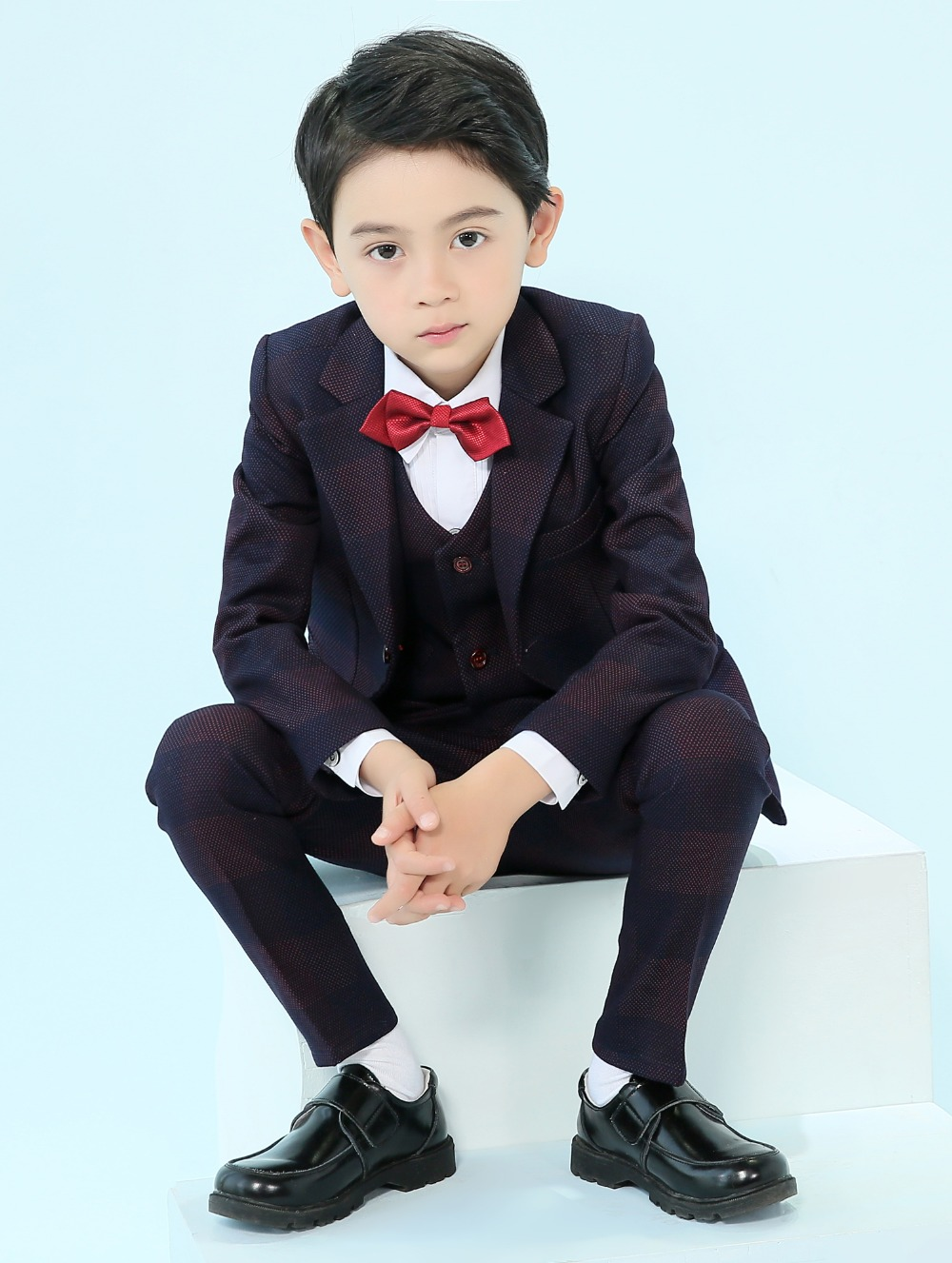 67155cd49 Us 89 99 5 Piece Boys Suits Plaid Slim Fit Ring Bearer Suit For Boys Formal  Classic Costume Weddings In Suits From Mother Kids On Aliexpress
