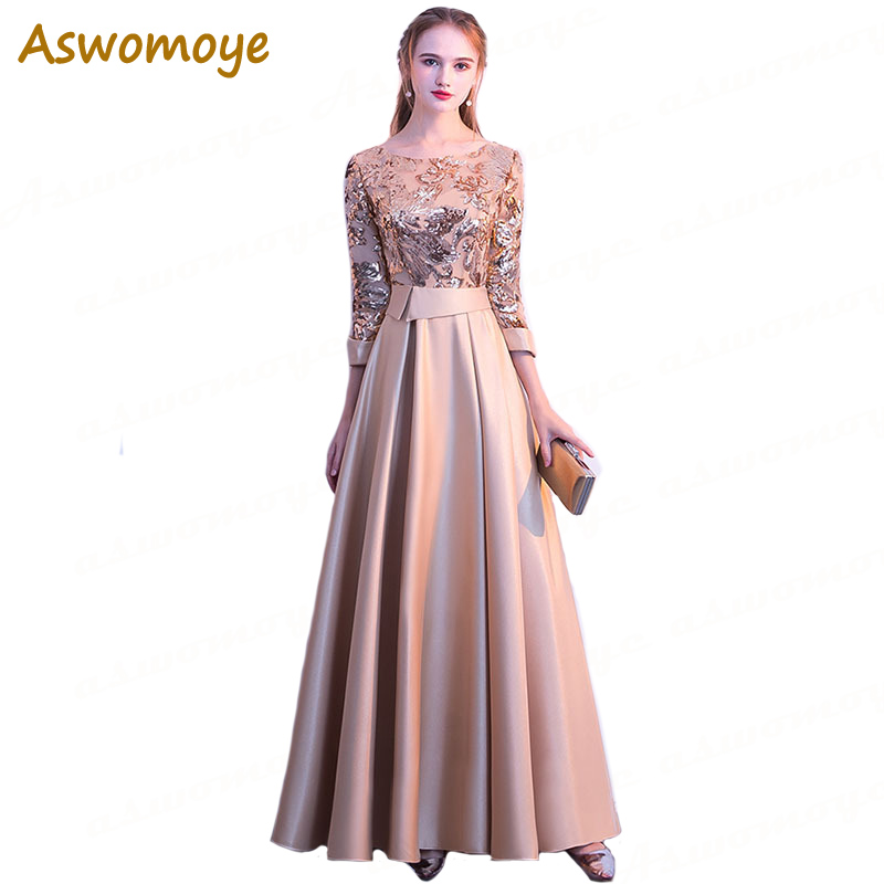 Aswomoye 2018 New Stylish Elegant Long   Evening     Dress   O-Neck Party   Dresses   Sequins A-Line Draped Prom   Dress   robe de soiree