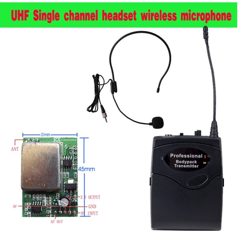 Made in China Single channel wireless UHF microphone system PCB Audio equipment headset mini portable font