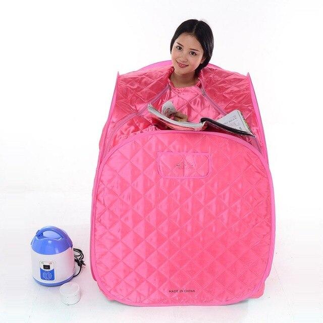 1 Person Wet Steam Sauna Proof Anti-Dry 2.0L 1050W Waterproof Cotton Steam Generator Red Color Home Portable Folding Sauna Box