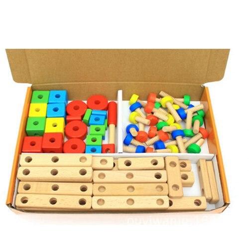 Vis en bois jouet éducatif bricolage assemblage montessori bébé intelligece variété multi-fonction écrou combinaison enfants puzzle - 6