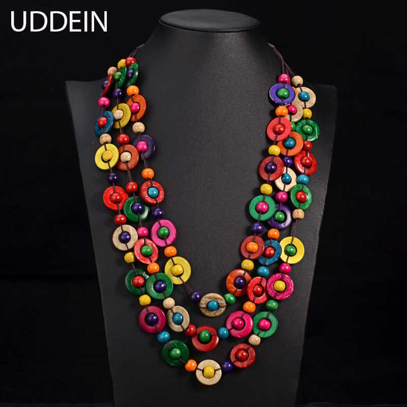 Uddein bohemia étnico colar & pingente multi camada contas de jóias vintage declaração longa colar feminino artesanal jóias de madeira