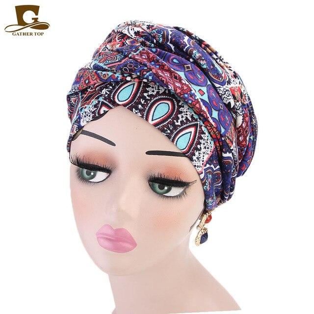 חדש נשים יוקרה בוהמי סגנון טורבן ניגרי טורבן חיג אב ארוך במיוחד צינור ראש לעטוף מוסלמי צעיף turbante שיער אבזרים