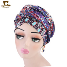 New women Luxury bohemian style Turban nigerian turban Hijab Extra Long Tube Head Wrap Muslim Scarf turbante Hair accessories
