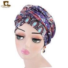 Nowych kobiet luksusowe czeski styl Turban nigerii turban hidżab Extra długie rurki szef Wrap muzułmańska chusta turbante akcesoria do włosów