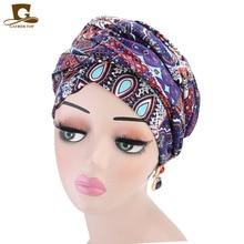 Phụ nữ mới Sang Trọng phong cách bohemian Băng Đô Cài Tóc Turban Gọng Nigeria Băng Đô Cài Tóc Turban Gọng Hijab Thêm Ống Dài Đầu Bọc Hồi Giáo Khăn turbante Phụ kiện Tóc