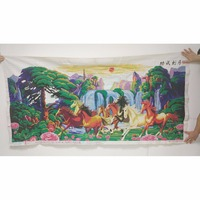 100% ручной вышивки крестом Защита от солнца лошадь водопад цветы Mountain Декор Картины Пряжа для Вышивка иглы искусств Craft Вышивание