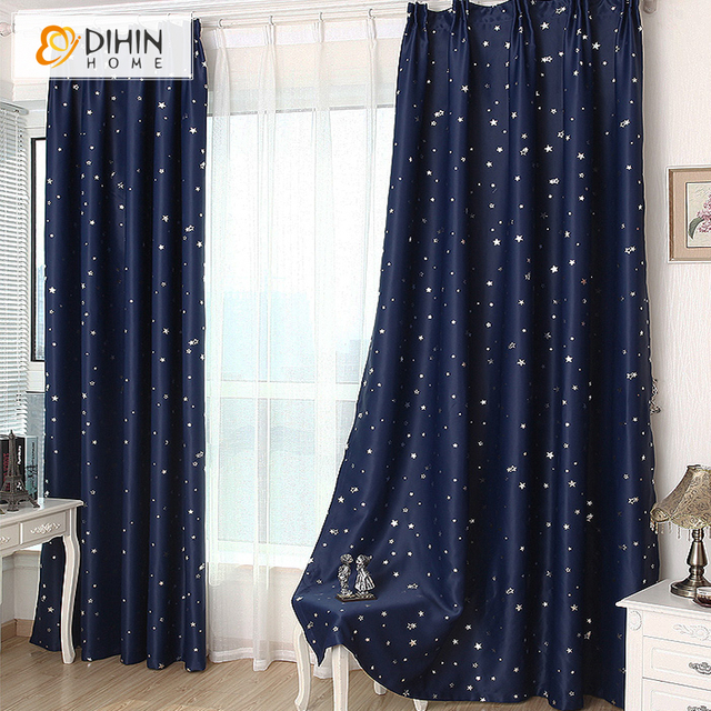 DIHIN 1 Panel Star Blackout Curtains For Bedroom Living Room Curtain Kids La Cortina