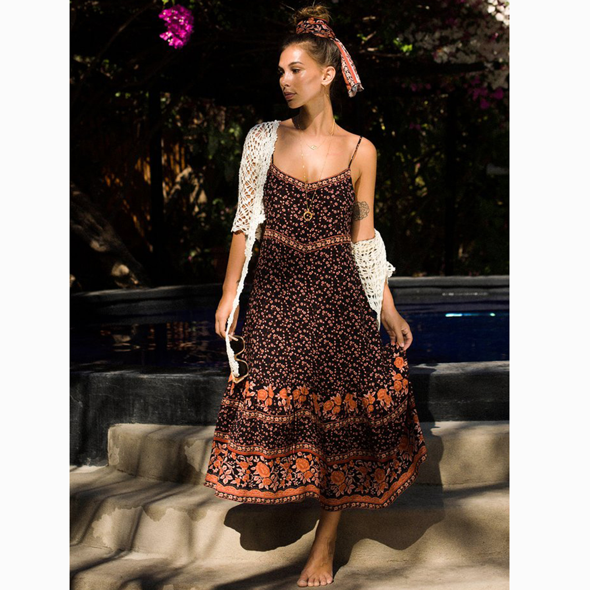 02da3b040ba6c Plum Floral Boho Chic Maxi Dress Women 2019 Summer Sleeveless Strapless  Sexy Dress Ladies Bohemian Hippie Beach Party Long Dress-in Dresses from ...