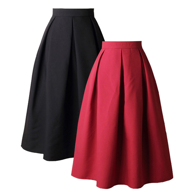 2c4505c3577a High Waist Pleat Elegant Skirt Black Red Knee-Length Flared Skirts Fashion  Women Faldas Saia Plus Size Ladies Jupe