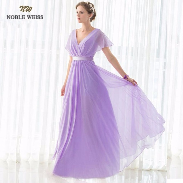 NOBLE WEISS Special Occasion Dresses V-Neck Chiffon Long Evening Dresses 2017 New Arrival Formal Dresses Fit Pergant Custom Made