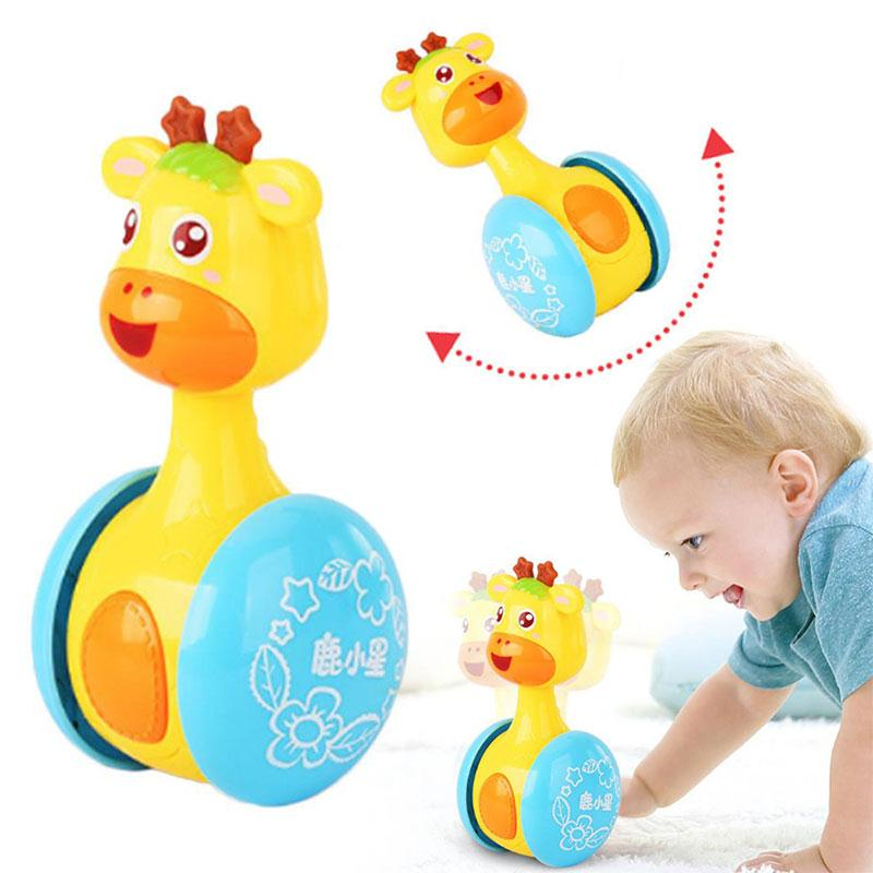 Baby Rattles Mobiles Giraffe Tumbler Toddler Toys For Children Kids Handle Educational Musical Dolls Bed Bells Stroller Cartoon