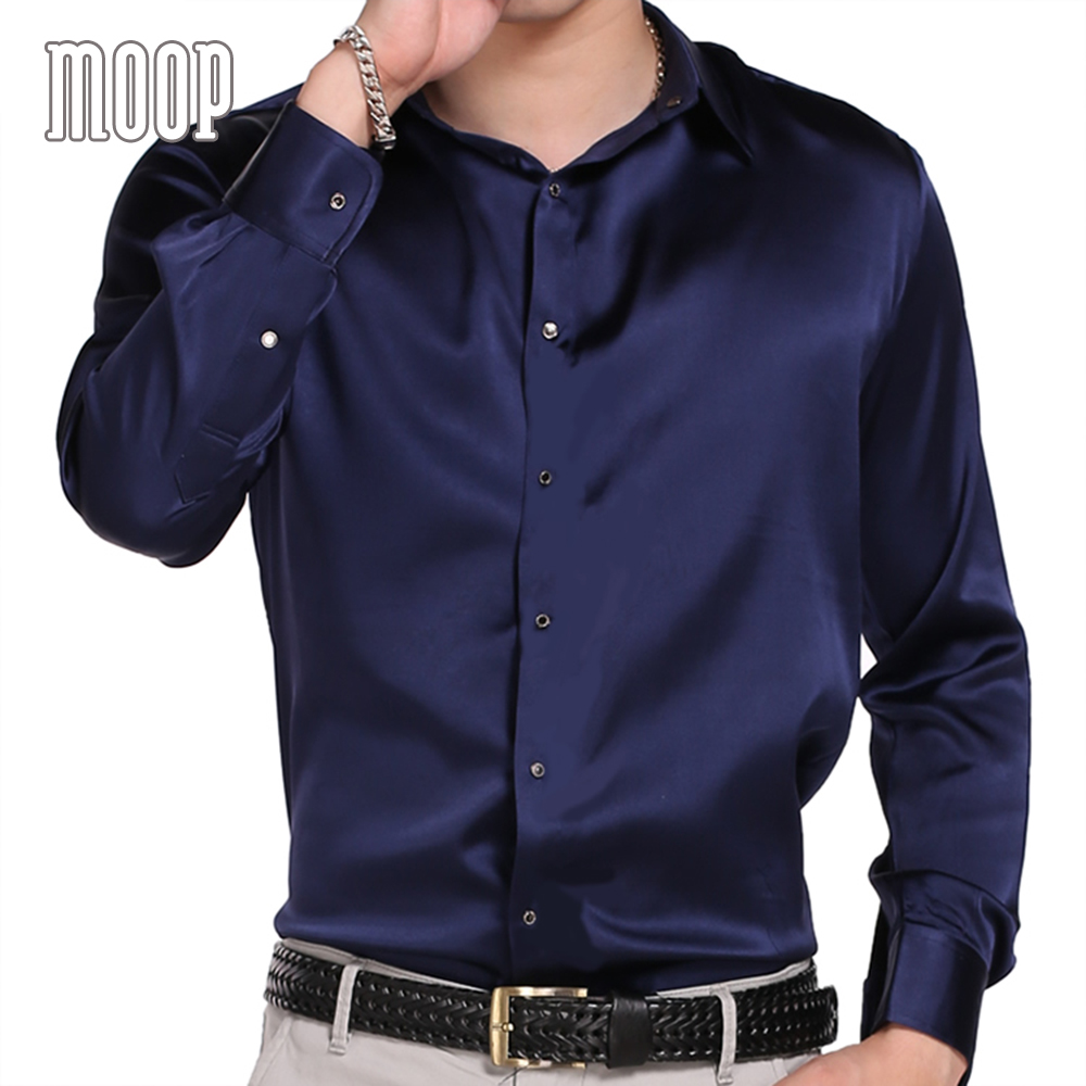 Black purple navy men natural silk shirts long sleeve business shirt cheap chemise homm camiseta masculina vetement homme LT1512