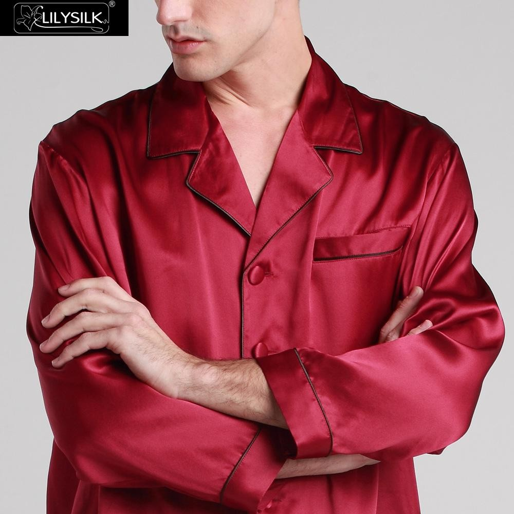d5aa738cd09b1 Lilysilk Пижамы для Мужчин Шелковые Пижамы Костюм Чистой Пижамы Пара ...