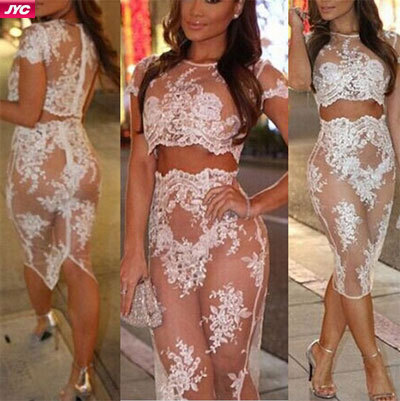 c3308a0a9486 New vestidos 2015 Women White 2 Piece Lace Dress Sexy Bandage Bodycon Dress  Celebrity Sexy See through Sheer Clubwear Dresses-in Dresses from Women s  ...