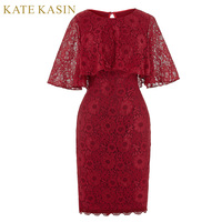 Elegant Short Mother of the Bride Dresses with Cape 2018 Lace Dress for Wedding Guest Knee Length Bodycon Red Evening Dress 0201