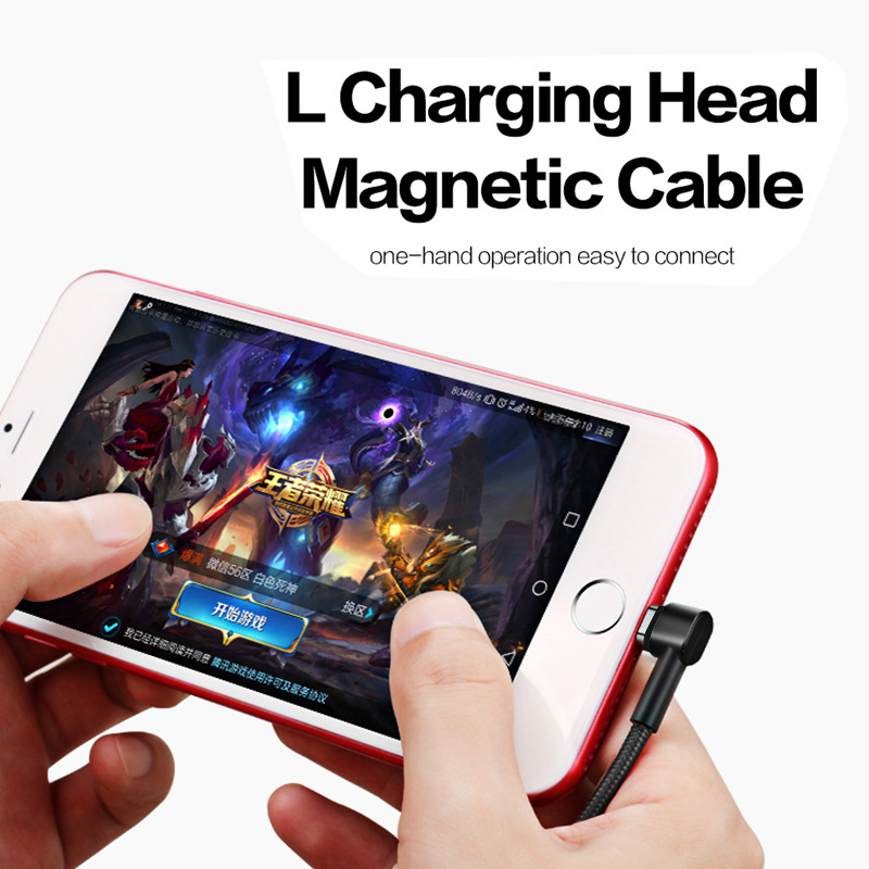 3 in 1 Magnetic Cable for iPhone Micro USB Type C Fast Charge 1M Nylon Braided Mobile Phone Data Sync Charging Cable for Samsung