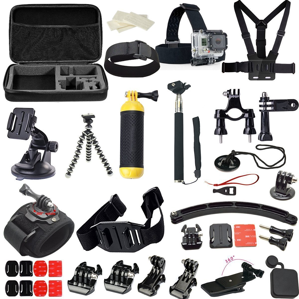 FeoconT Sports camera accessories set for go pro hero 5 4 3 kit mount for SJCAM