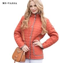 MS Vassa Для женщин куртка новинка 2017 года Повседневная куртка осень-весна женские пальто рипы ленту вокруг подол и планка Большие размеры 5XL 6XL 7XL