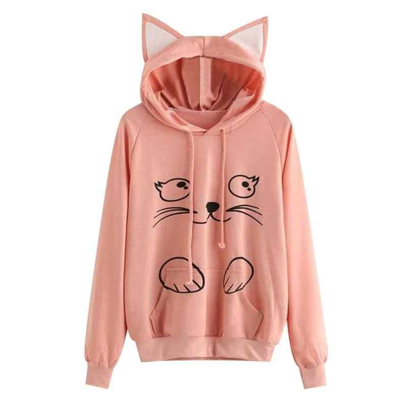 c2106457 Harajuku для женщин прекрасный кот толстовки розовый Kawaii с ушками осень  пуловер капюшоном длинным рукавом Топы