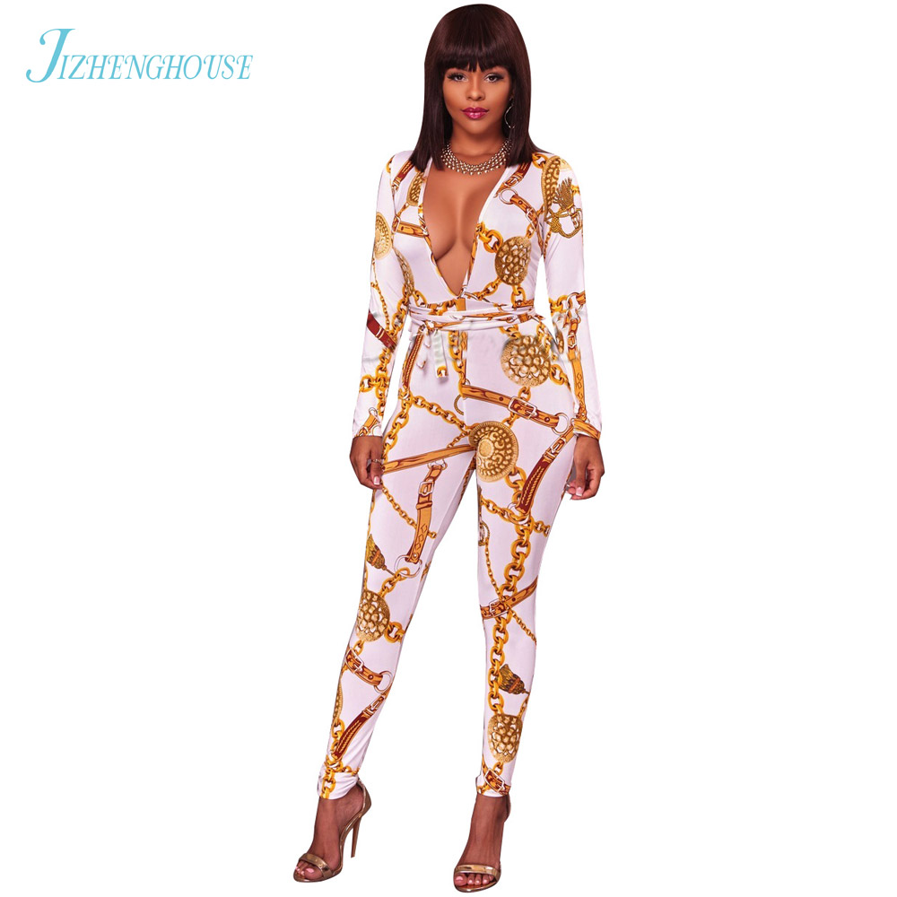 JIZHENGHOUSE Women Romper Long Sleeve Deep V Neck Playsuit Elegant Streetwear Sexy Casual Printed Jumpsuit