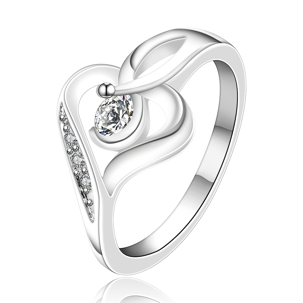 2016 Wholesale Sale Silver Crystal Heart Rings Cz Simulated Diamonds Fashion  Acessories Birthday Gifts Jewelry High
