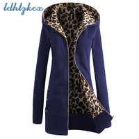 Solid Color Loose Plus Velvet Large Size Hooded Hoodies Female 2018 Autumn winter New Fashion Casual Leopard Hooded Hoodies CX79