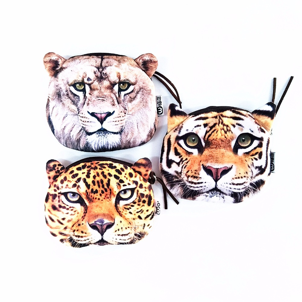 M223 Cute Cartoon Pets Kitty Cat Tiger Personality Plush Coin Purse Wallet Pen Bag Girl Women Student Gift Wholesale