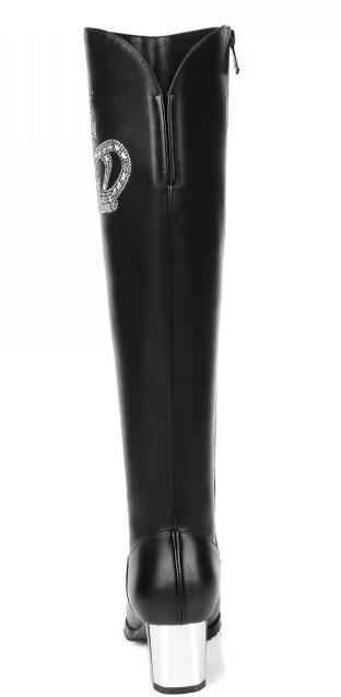 La D'hiver Véritable Long Cuir Les black Bottes Sur Côté Zip Au Black 34 Épais Haut Plus Printemps Leather Taille Sxq1006 Genou Femmes Fur Talon En 45 Automne Lady fndHAwqq