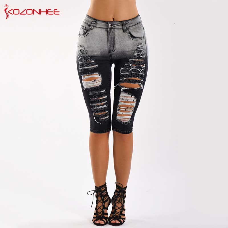 Black And White Stretch Hole Jeans With Mid Waist For Women Ripped Knee Length Pencil Jeans Pants For Female #03