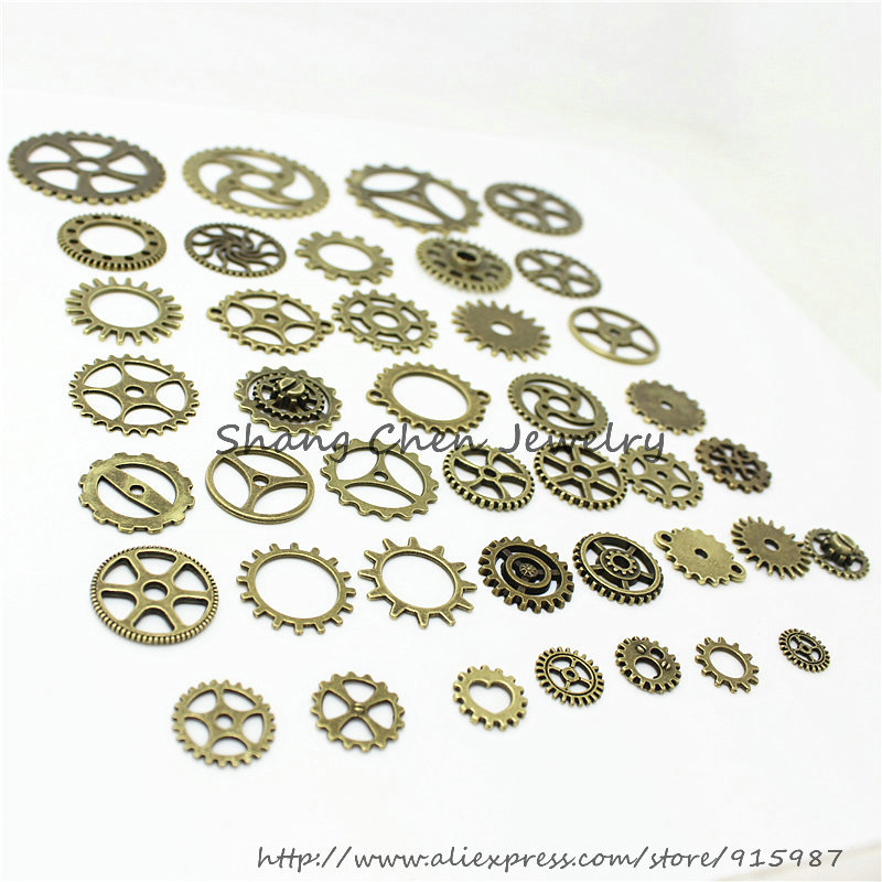 Sweet Bell 20-25 pattern Mixed 200 PCS Assorted  gear Charms Pendants gear Metal Alloy Pandent Color Antique Bronze Diy  D0163