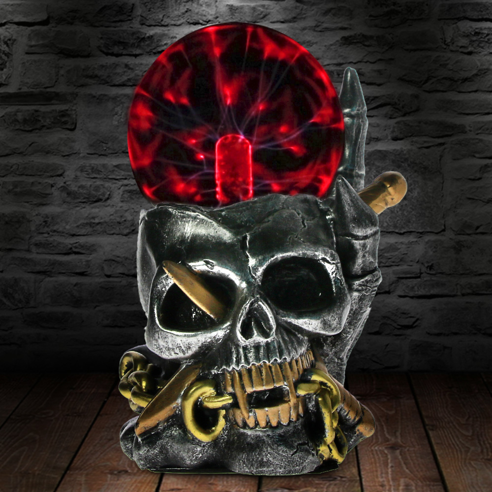 Viking Skull With Dagger Through Horror Statue Figurine Electric Thunder Touch Sensitive Plasma Ball Skeleton Head