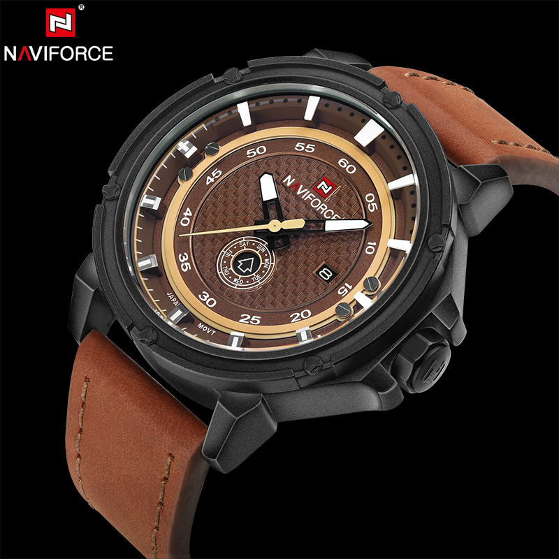 NAVIFORCE Original Luxury Brand Fashion Men Quartz Analog Sport Watches Leather Army Military Clock Waterproof Relogio Masculino xinge top brand luxury leather strap military watches male sport clock business 2017 quartz men fashion wrist watches xg1080