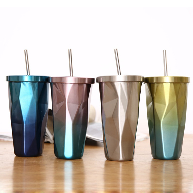 Creative Coffee Mugs Milk Mug Double Layer Stainless Steel Water Cup with Lid and Straw Large Capacity 500ml Best Gift