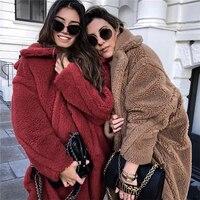 2018 Winter Solid Color Teddy Jacket Women's Street Thicken Casual Lamb Fur Coat Jacket Women's Jacket Faux Fur Coa