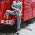 ZOZO Señora de la Oficina Elegante Gris 65% Tela Sin arrugas Con Cordón de Las Mujeres de Lana Trajes de Negocios Trajes de Nueve Minutos de Trajes de pantalón