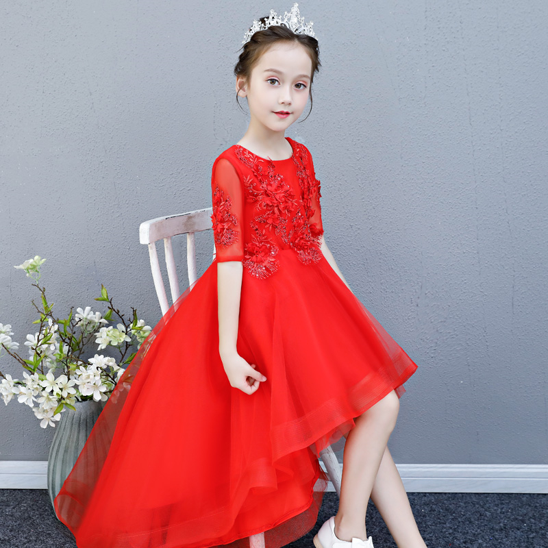 2018 High Quality Children Girls Red Color Birthday Wedding Party Half Sleeves Princess Lace Prom Dress Kids Teens Piano Dress new high quality children girls red color shoulderless princess dress kids birthday wedding party mesh dress school player dress