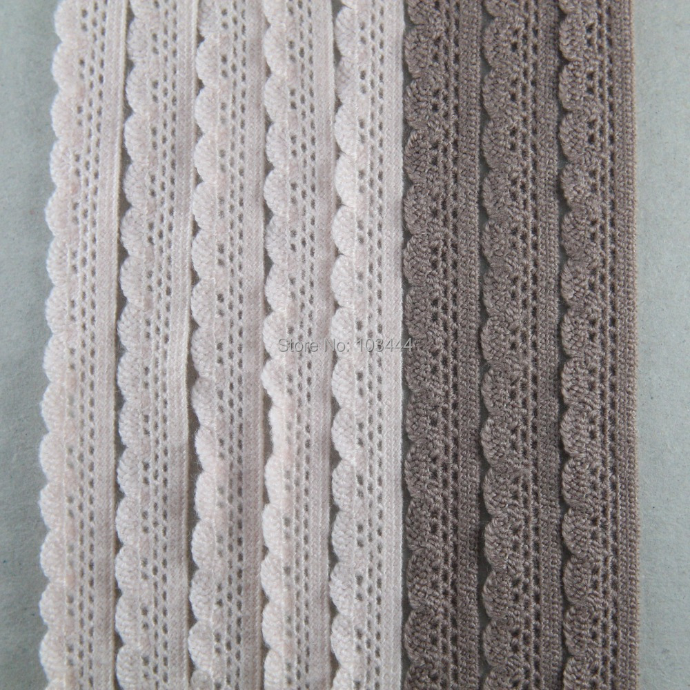 20 yards/lot 12mm width baby pink,light coffee Elastic Stretch Lace trim sewing/garment/clothes/Apparel accessories