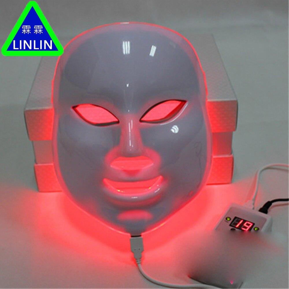 Linlin led 컬러 마스크 레드 블루 그린 7 색 안티 여드름 컬러 라이트 마스크 전자 뷰티 photorejuvenation 악기-에서스킨 케어 도구부터 미용 & 건강 의  그룹 3