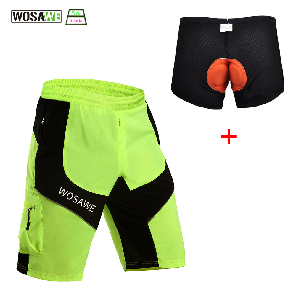 WOSAWE Cycling Shorts Bicycle Clothes Road MTB Loose Fit Waterproof Cycling Short Leisure Mountain Bike Bicycle padded underwear