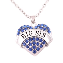 Charm Crystal Heart Necklace BIG Sister Birthday Gifts Women Girl Jewelry 4 COLORS