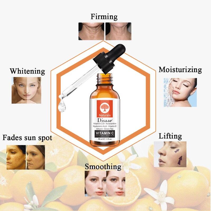 Vitamin C Serum Hyaluronic Acid Whitening Anti-Aging Fade Spots Removing Freckle Anti Winkles Moisturizing Face Cream Care