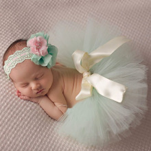 10 цветов; красивая детская юбка-пачка с цветочной повязкой на голову; модная юбка-пачка и повязка на голову для фотосессии новорожденных; TS025