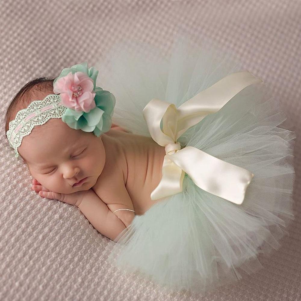 10 Renkler Güzel Bebek Tutu Etek ile Çiçek Kafa Moda Yenidoğan Fotoğraf Prop Tutu ve Kafa TS025