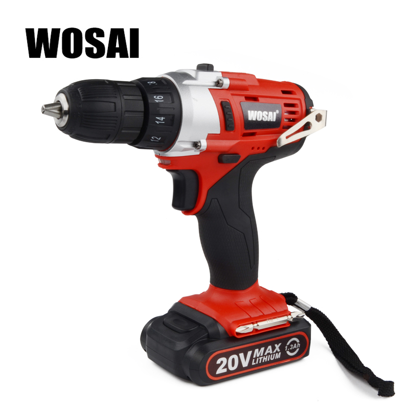 WOSAI 20-Volt Lithium Battery Electric Drill Cordless Electric Hand Drill Power Rechargeable Tools Screwdriver Power Driver wosai 6pcs electric drill