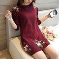 2017 vestidos de outono na manga longa Coreano magro cabeça peônia vestido de camisola F1228