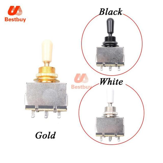 10 Pcs BlackGoldChrome 3 Way Toggle Switch Selector for LP