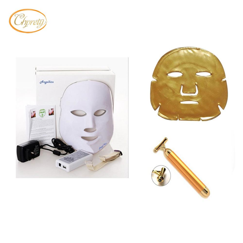 LED Mask Photon <font><b>Light</b></font> Skin Rejuvenation Therapy Facial Mask+collagen mask+ 24K Beauty Bar Golden Derma Energy <font><b>Face</b></font> Massager